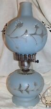 Vintage Light Blue Frosted Hurricane Lamp Lights on Top FREE SHIPPING