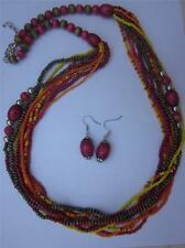 Multi Strand Multi Color Orange Fuchsia Glass & Wood Bead Long Necklace Earring