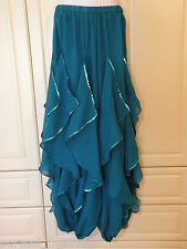 TURQUOISE GREEN ENDLESS WAVE HAREM PANTS, SILVER CHIFFON SEQUINS for BELLY DANCE