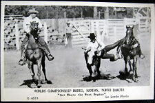 MANDAN ND ~ 1950's WORLD CHAMPIONSHIP RODEO ~ COWBOYS IN ACTION ! RPPC