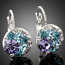 Women Fashion Cubic Zirconia Crystal Leverback Silver Earrings Ear Studs Optimal