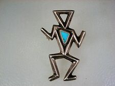 CRAZY OLD NAVAJO HAND CAST STERLING SILVER & TURQUOISE SUPERNATURAL ROCK ART PIN