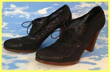 $265 J. CREW J CREW BLACK QUORRA PERFORATED LEATHER HIGH HEEL OXFORDS SHOES 10