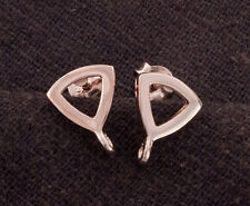 925 Sterling Silver Rose Gold Vermeil Style Triangle Earrings Post Findings