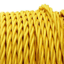 YELLOW TWIST vintage style textile fabric electrical cord cloth BRAIDED cable 1m