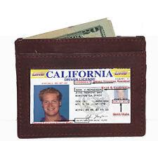 BROWN 100% Leather Men Credit Card Holder ID Holder Thin Pocket slim Wallet Nice