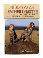 Two Cheetahs 'Soulmates' Single Leather Photo Coaster Animal Breed Gi, SOUL-80SC