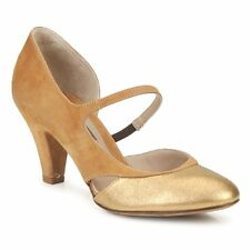 Womens UK 3 Janet & Janet Cognac & Gold Peonia Fresia Leather Heel Shoes (NEW)