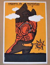 """24x36""""Cuban movie Poster art for film""""Vaquero de Montaña""""Cowboy Boot Western."""