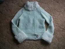 womens real fur trim sweater.cable,cardigan,turtleneck.medium