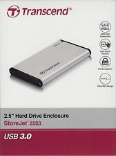 "Transcend 2.5"" Portable Casing Enclosure USB 3.0 for SSD / SATA HDD TS0GSJ25S3"