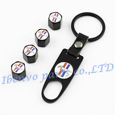Key chain Black Metal Car Wheel Tyre Tire Stem Air Valve Cap For Ford Mustang