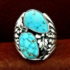 Sterling Silver Turquoise Ring  Size 11   Native American Made --- R70 C T