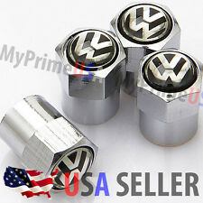 VW Volkswagen Logo Valve Stem Caps Covers Silver Chromed Emblem Wheel Tire Tip