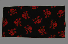 2 Fabric fat quarters with red skulls on black background