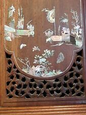 Vietnamese or Chinese  MOTHER-OF-PEARL INLAID ROSEWOOD PANNEL 19th century