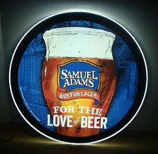 """SAMUEL ADAMS BOSTON LAGER FOR THE LOVE OF BEER 18.5"""" CIRCLE LED BAR SIGN NEW"""