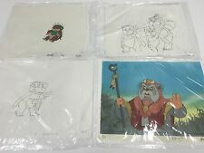 *STAR WARS SCREEN USED 1/1 HAND PAINTED ANIMATION CELLS SET OF 4 FROM EWOKS