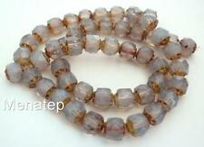 25 6mm Czech Glass Renaissance Style Beads: Milky Amethyst