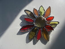 Handmade stained glass petalled flower suncatcher hanging brooch decoration gift