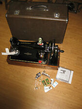 CAST IRON SINGER 201 CONVERTED HAND SEWING MACHINE WITH WOODEN CARRY CASE.
