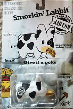 "Kidrobot Frank Kozik Smorkin' Labbit 2.5"" Mad Cow w/Hamburger vinyl art toy"