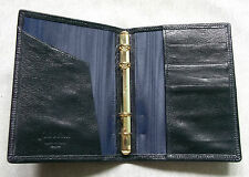 NEW FILOFAX WALLET KID LEATHER SLIM POCKET FILE DARKEST NAVY 11MM DIAMETER