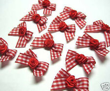 40 Red Gingham Grosgrain Ribbon Bow w/ Rose Appliques W043