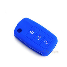 Blue Silicone Key Cover Remote Flip Key FOB For VW Golf Jetta Polo Passat 3BTN