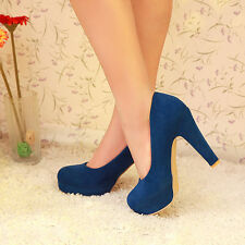 Womens fashion high Heel Round Toe platform Pump faux suede Party Shoes US SIZE