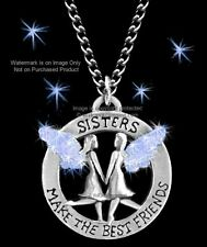 SISTERS MAKE THE BEST FRIENDS NECKLACE ANGELS SISTER BLUE SWEET GIFT FREE SHIP *