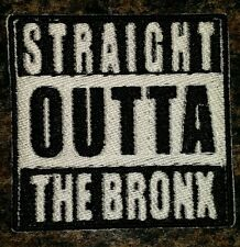 Straight outta the Bronx motorcycle biker embroidered vest patch iron on blk&whi