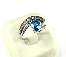 R#6852 simulated Sea Blue Topaz gemstone solitaire ladies silver ring size 9.25