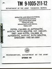 Tech Manual COPY TM9-1005-211-12  45cal M1911A1- How to Operate your pistol