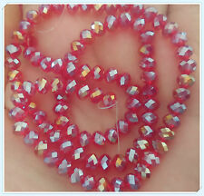 100 pcs  RONDELLE FACETED GLASS CRYSTAL BEADS   RED AB 6x4mm Jewellery Making