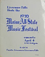 Livermore Falls Maine 1970 Maine All-State Music Festival Program SAD 36