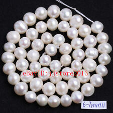 6-7mm Natural White Freshwater Pearl Oval Shape Gemstone Loose Beads Strand 15""