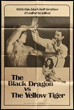 1976 BLACK DRAGON VS THE YELLOW TIGER ORIGINAL Kung Fu 1 ONE SHEET MOVIE POSTER