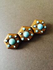 VINTAGE BROOCH PIN TURQUOISE ON BRASS ART DECO