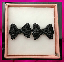 Ladies Beautiful Black Bow Stud Earrings Perfect for Birthday Gift
