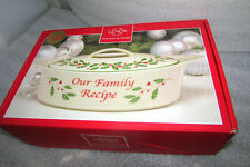 LENOX HOLIDAY OVAL COVERED VEGETABLE SERVING DISH OUR FAMILY RECIPE NEW IN BOX