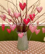 Shabby Chic/Vintage Hanging Hearts X6 Handmade Twig Tree Dec Red Home Gift Mum