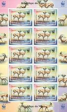 1998 WWF REPUBLIQUE DU NIGER WILD ANIMALS GAZELLA 10 STAMP MNH SHEETLET