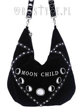 Restyle Moon Child Velvet Hobo Bag Gothic Occult Wiccan Phases Handbag Purse