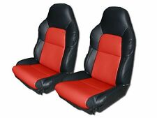 CHEVY CORVETTE STANDARD C4 1994-1996 BLACK/RED LEATHER-LIKE CUSTOM SEAT COVER