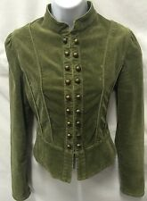 MARC JACOBS Military Green Brushed Corduroy Peplum Fitted Jacket Size M