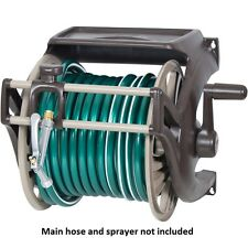 NEW 225-Ft Brown Beige Wall-Mount Organizer Outdoor Water Garden Hose Reel Caddy
