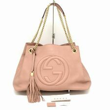Authentic Gucci Double GG Leather Chain Shoulder Hand Bag Tote Soho Pink Gold