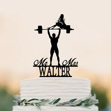 Weight lifting Groom topper, Mr&Mrs Last name topper birthday gift cake topper