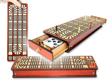 Magnetic Cribbage Board Continuous 3 Tracks Inlaid Bloodwood/Maple with Drawers